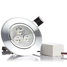 MORSEN 6W 500-550LM 3000k/6000K Cool/Warm White Color Support Dimmable LED Spot Lights LED Ceiling Lights(110-220V) ( Color : Silver , Light Source Color : Cold White-110V )