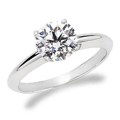 1 5 Carat Round Cut Diamond Solitaire Engagement Ring 14K White Gold 4  Prong (J-K d9b6f6048