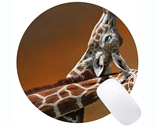 Gaming Round Mouse Pad Custom,Sunlight Animal Giraffe Mouse Pad Stitched Border -