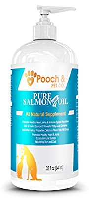 Organic Pure Wild Alaskan Salmon Oil for Dogs & Cats - Supports Joint Function, Immune & Heart Health - Omega 3 Liquid Food Supplement - All Natural EPA + DHA Fatty Acids for Skin & Coat … from Pooch & Pet Co.