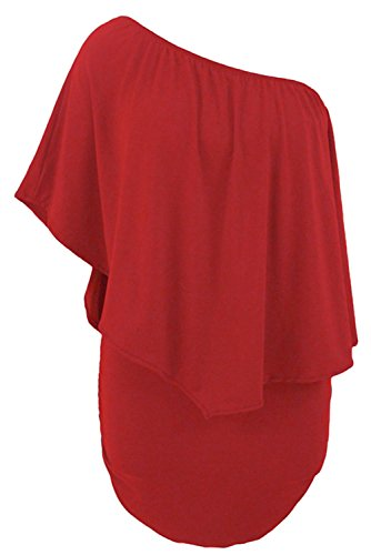 vestito Fiyote Red donna scoperte ruches spalle corto da sexy e con Sqx67qwP