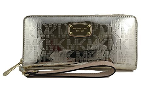 Michael Kors Jet Set Travel Continental Pale Gold Mirror Zip Around Wallet Wristlet