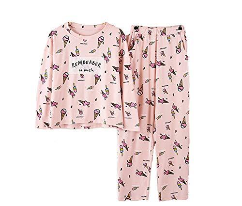 Donna Notte Rosa autunno Manica Lunga Camicia Rosa Pigiami Pezzi pigiama Due Donna cotone da raCxPqr