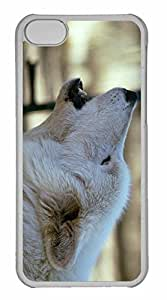 iPhone 5C Case, Personalized Custom White Wolf Howling By Dave Johnson for iPhone 5C PC Clear Case