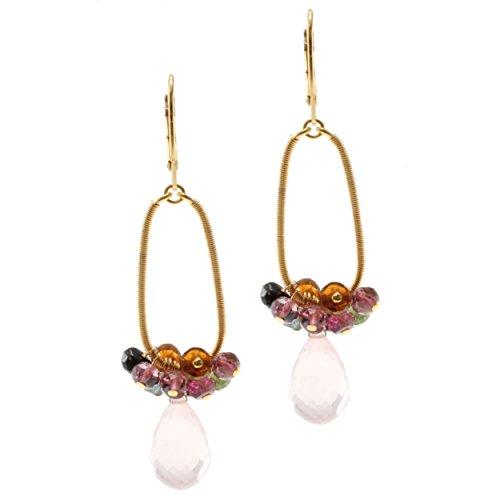 Multi Colored Tourmaline Earrings (Michael Valitutti Sterling Silver Rose Quartz Drop and Multi-colored Tourmaline Earrings)