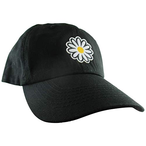 AffinityAddOns Daisy Dad Hat, Women's Black Baseball Cap, Embroidered Patch