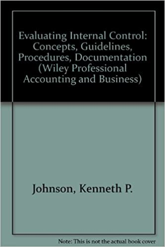 Book Evaluating Internal Control: Concepts, Guidelines, Procedures, Documentation (Wiley Professional Accounting and Business)