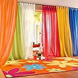 PASSENGER PIGEON 6 Pieces Rainbow Sheer Tap Top Window Panel Curtain Set.Orange, Red, White, Bright Yellow, Green,Blue.Each Panel Size 50″ W x 96″ L For Sale