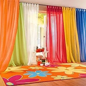 PASSENGER PIGEON 6 Pieces Rainbow Sheer Tap Top Window Panel Curtain Set.Orange, Red, White, Bright Yellow, Green,Blue.Each Panel Size 50