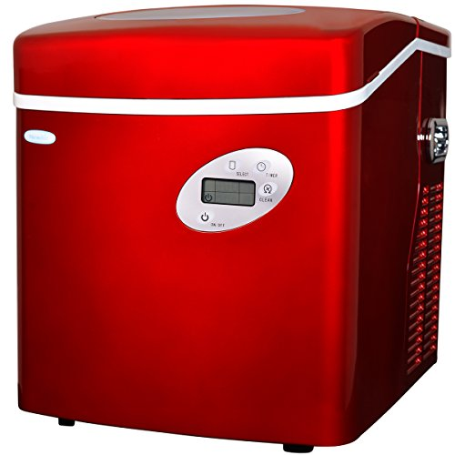 NewAir Portable Ice Maker 50 lb. Daily, Countertop Design, 3 Size Bullet Shaped Ice, AI-215R, Red