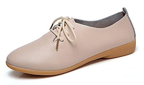 Beige Oxford - VenusCelia Women's Sung Oxford Flats Shoe(7.5 M US,Beige)
