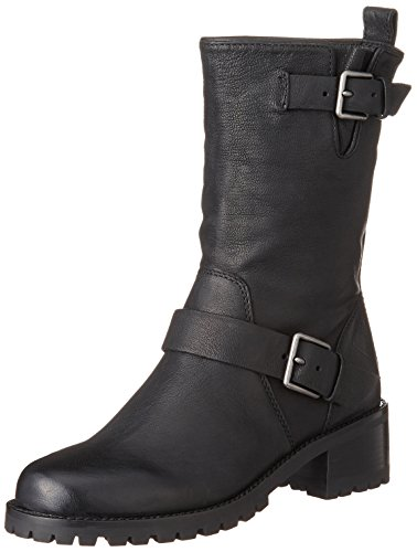 Cole Haan Women's Hemlock Motorcycle Boot, Black Leather, 8 B US