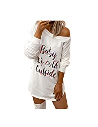 Dress for Women,Leewos Baby It's Cold Outside Ladies Fashion Casual Round Neck Letter Print Long Sleeve Tops and Mini Dress