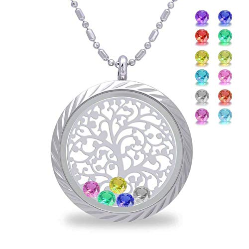 (Family Tree of Life Floating Charm Living Memory Lockets Pendant, Magnetic Closure Stainless Steel Birthstone Crystal Necklace DIY Jewelry (Engraving))
