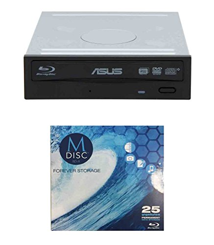Asus 16x BW-16D1HT Internal Blu-ray Burner Drive Bundle with 1 Pack M-DISC BD (Supports BDXL and M-DISC, Retail Box)