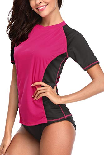 ATTRACO Women's UV Sun Protection Rash Guard Wetsuit Swimsuit Top Short Sleeve