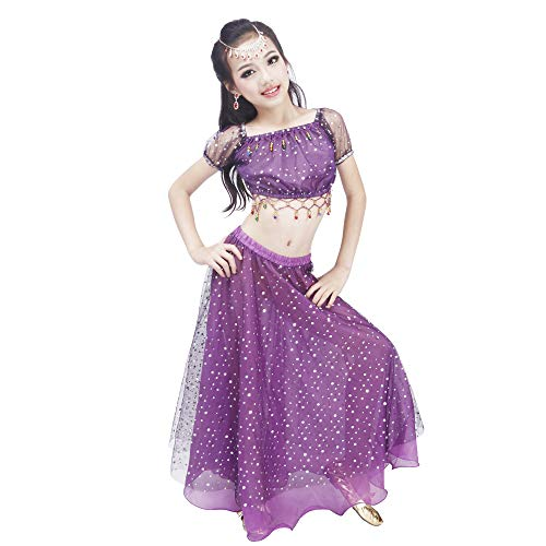 Maylong Girls Polka Dot Dancing Skirt Belly Dance Outfit Halloween Costume DW51 (Large, Purple) -