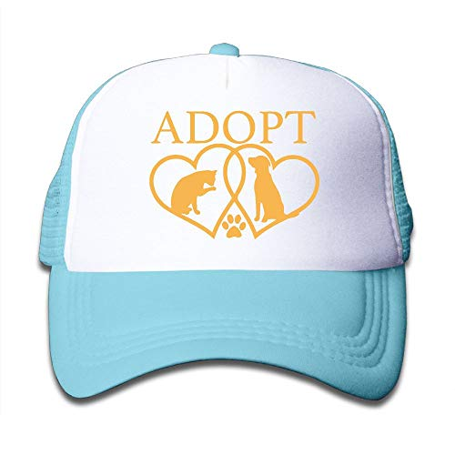 Adopt A Pet Two Hearts with Dog and Cat-1 On Kids Trucker Hat, Youth Toddler Mesh Hats Baseball Cap