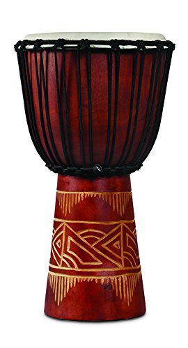 Latin Percussion LP713MR World Beat Wood Art Medium Djembe, Red with Natural by Latin Percussion