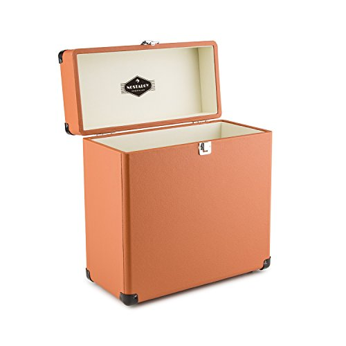 auna Vinylbox Record Case Leather Nostalgia 30 LPs • Portable Vinyl Case • Leatherette • Retro Design • Lightweight • Shockproof • Metal Protection Edges and Lock • Velvety Inner Padding • Brown