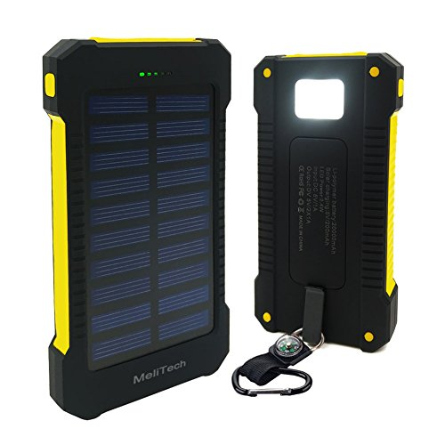 Water-proof 20000 mAh Solar Mobile Power Bank Solar Charger (Yellow) - 1