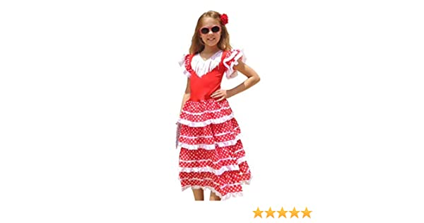 La Senorita Vestido Flamenco Español Traje de Flamenca chica/niños blanco rojo (Talla 12, 140-146 - 95 cm, 9/10 años, rojo)