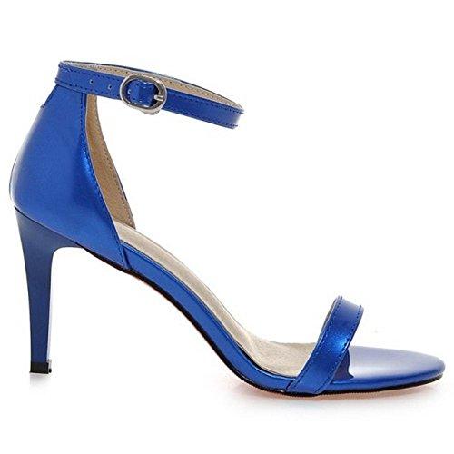 COOLCEPT Damen Fashion Strappy Shoes Open Toe Kn?Chelriemchen Sandalen Stiletto Blau