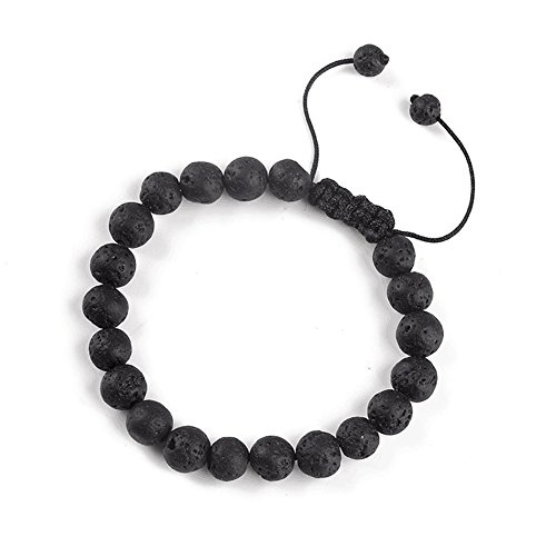 (SULYSI Lava Bead Diffuser Essential Oil Bracelet Braided Rope Elastic Wrist Bracelet Aromatherapy Jewelry for Women Men)