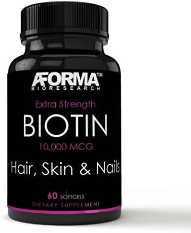 Biotin 10,000 mcg | 60 Softgels Hair, Skin & Nails Extra Strength! - Non-GMO Fast Acting | Supports Hair Growth, Glowing Skin and More.