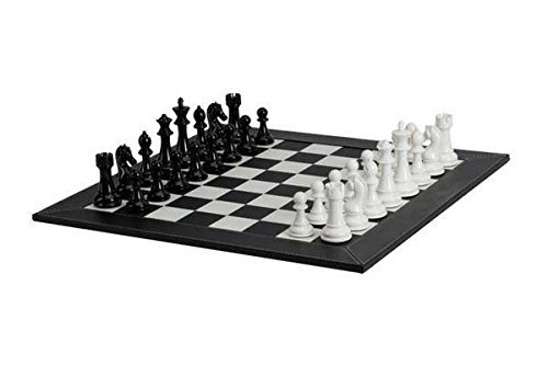 Black Leatherette Chess - Deluxe Black & White Chessmen with Leatherette Chessboards