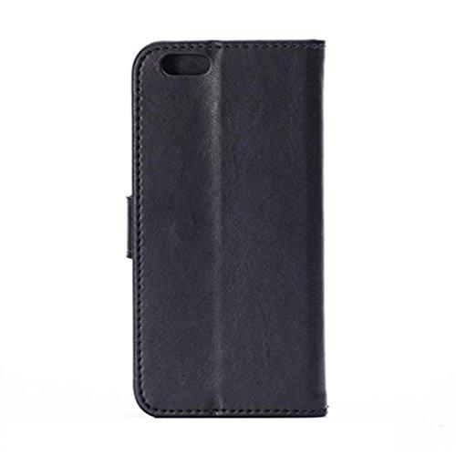 iPhone 6 Hülle,Apple iPhone 6 Hülle (4.7 Zoll) Lifetrut®[FM Schwarz] Flip Case mit lebenslanger Garantie + Kartenfächern & Standfunktion