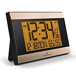 Marathon Launch CL030052BK-GD Atomic Digital Wall Clock Auto-Night Light, Temperature & Humidity - Batteries Included. (Black Panel/Gold Trim)