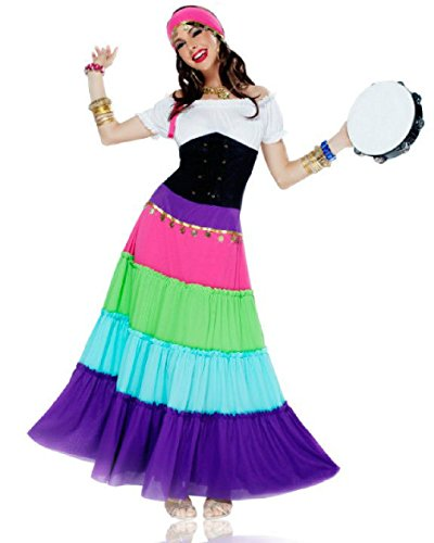 Exotic Gypsy Costumes (OvedcRay Adult Sexy Gypsy Tarot Fortune Teller Pirate Renaissance Gypsy Costume)