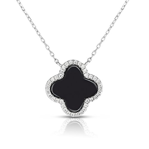 Unique Royal Jewelry Sterling Silver Cubic Zirconia Four Leaf Clover Necklace with Adjustable Length. (Natural Silver)