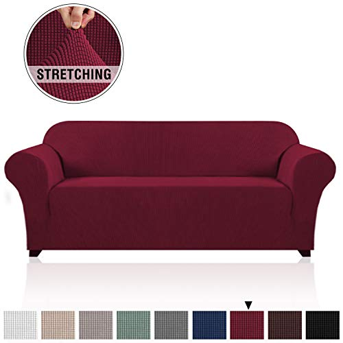 PrinceDeco High Stretch Sofa Cover Stylish Furniture Cover/Protector with Spandex Jacquard Small Checks Fabric Sofa Cover for 3 Cushion Couch with Anti-Slip Foam (Sofa, Burgundy Red) (Couch Cushions Red)