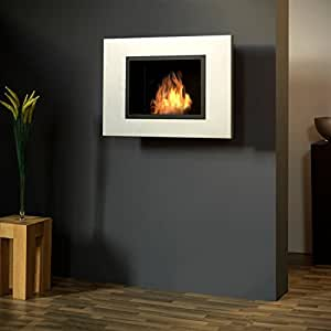 Bergamo Screen bioetanol chimenea de pared: acero inoxidable, mate