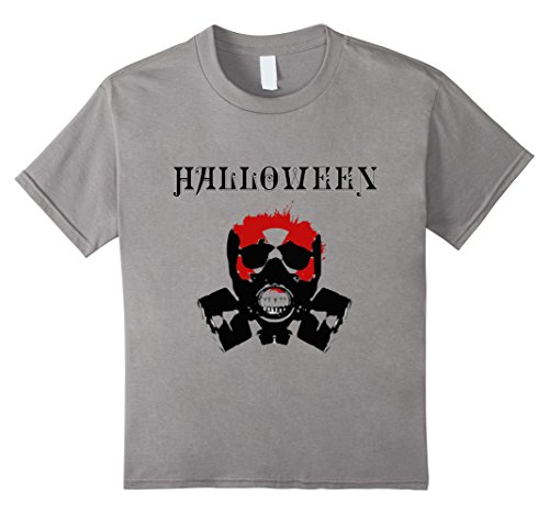 Kids Halloween Gas Mask Scary Gift T-Shirt 12 Slate (Gas Mask Girl Costume)