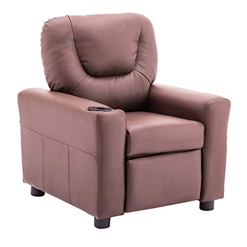 Mcombo Kids Recliner Chair Armrest Sofa Couch with Cup Holder for Toddlers Boys Girls, Faux Leather 7240 (Light Brown)