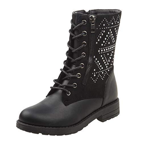 Kensie Girl Mid Shaft Combat Style Boot, Black Studs, 1 M US Little Kid'