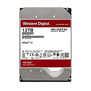 "WD Red 12TB NAS Internal Hard Drive - 5400 RPM Class, SATA 6 Gb/s, CMR, 256 MB Cache, 3.5"" - WD120EFAX"