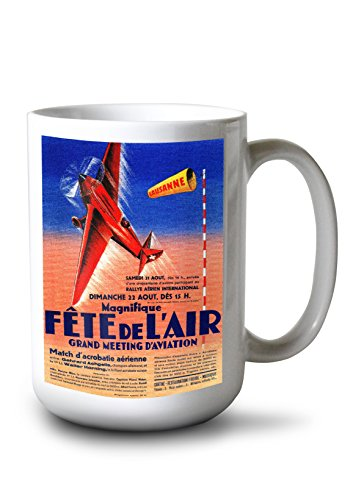 Lantern Press Airshow Featuring Haryse Hilsz (15oz White Ceramic Mug)
