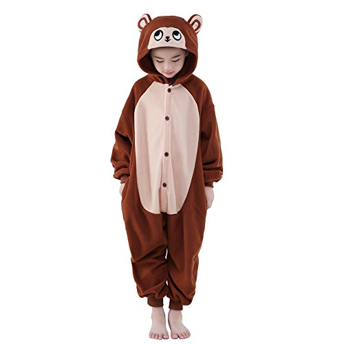 NEWCOSPLAY Unisex Children Animal Pajamas Halloween Costume (125#, Brown Monkey)