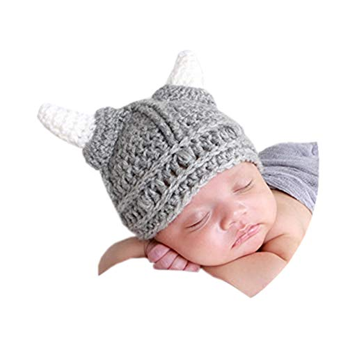 Baby Beard Viking Knit Hat Barbarian Bull Horn Crochet Handmade Knit Beanie Hat -