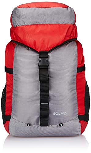 Amazon Brand – Solimo 60 Litres Rucksack Bag for Trekking and Camping, Red and Grey