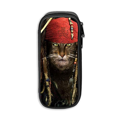 Funny Cat Captain Jack Sparrow Students Pen Organizer with Double Zippers Large Capacity Pouch Stationary Case for Watercolor Pencils