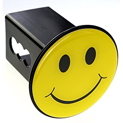 LFPartS Yellow Smiley Happy Face Trailer Metal Hitch Cover Fits 2