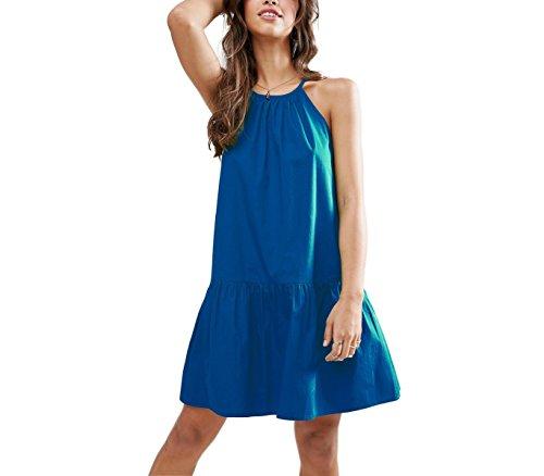 Vestito corto da donna LOLITA bretelline regolabili tessuto morbido. MEDIA WAVE store ® (S, Blu)