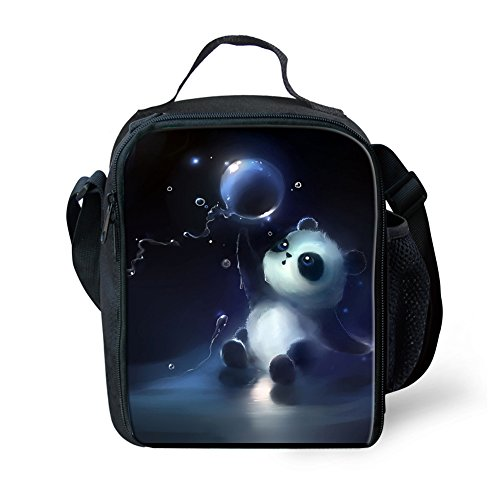 (Dellukee School Lunch Bag For Kids Soft Boys Girls Adjustable Shoulder Strap Durable Handbag Tote Bag Reusable Insulated Lunch Box With Zipper Panda Print)