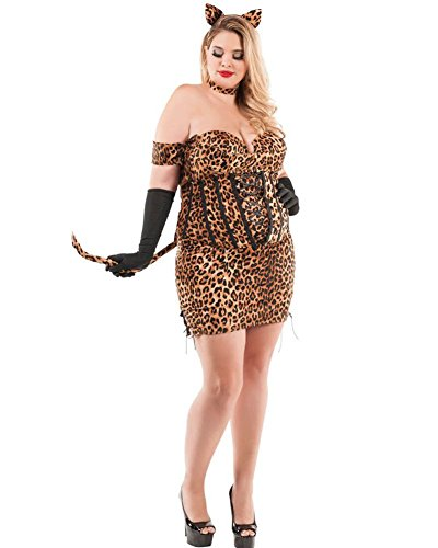 Starline Women's Plus Size Cinched Up Leopard Kitty Costume (3X)