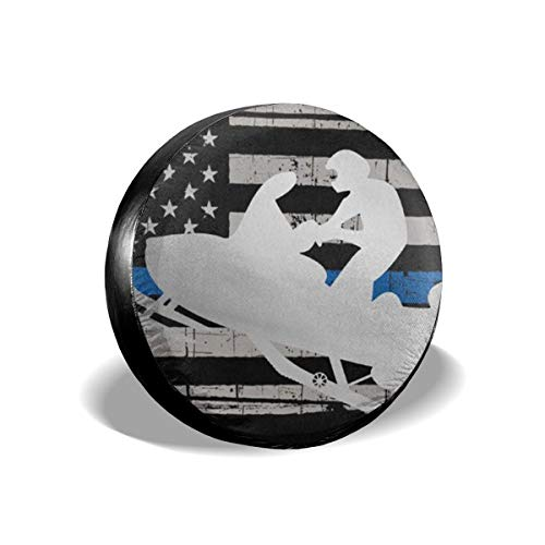 Tire Truck Spare Cover (Tire Cover Thin Blue Line American Flag Platinum Snowmobile Polyester Universal Spare Wheel Tire Cover Wheel Covers Jeep Trailer RV SUV Truck Camper Travel Trailer Accessories 15 inch)